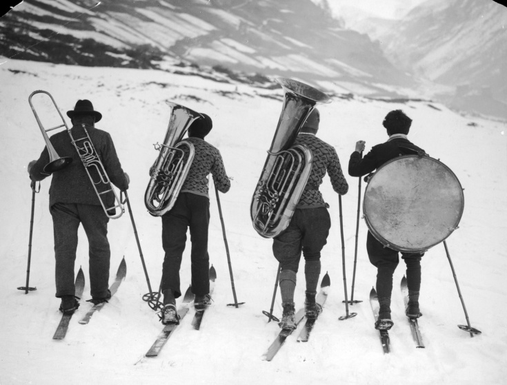 Brass monkeys … 1945-An intrepid Alpine quartet head to their next gig-Photograph-Hirz